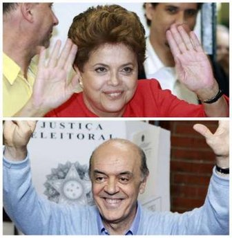Brazilian presidential candidates Dilma Rousseff and Jose Serra gesture after voting at their polling stations on October 3, 2010. REUTERS/Edison Vara and Nacho Doce
